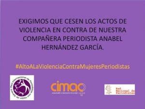 Pronunciament de suport a la periodista Anabel Hernández García