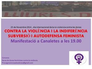 """25 N: Manifest """"Contra la Violència i la Indiferència: Subversió i Autodefensa Feminista"""""""