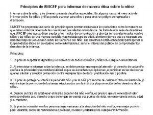 Principios de UNICEF para informar de manera ética sobre la niñez