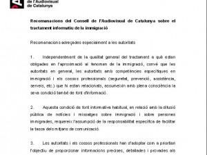 Recomanacions del Consell de l'Audiovisual de Catalunya sobre el tractament informatiu de la immigració