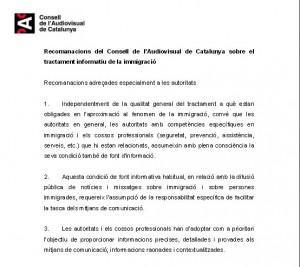 Recomanacions del CAC sobre el tractament informatiu de la immigració