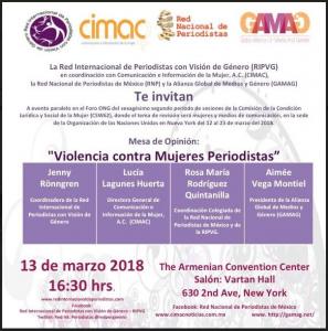 Acto sobre violencias a mujeres periodistas en la 62 CSW